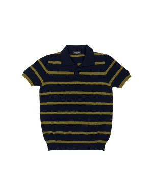 Navy and Ochre Cotton Knit Polo Shirt