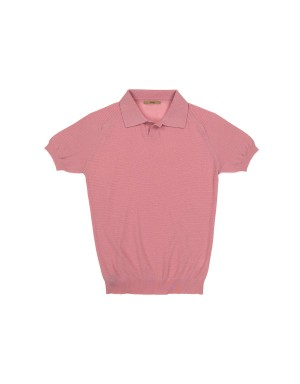 Pink Honeycomb Knit Polo Shirt