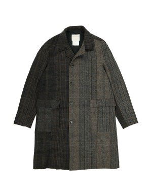Brown Checked Wool Coat