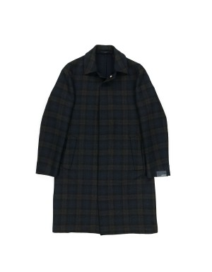 Navy Checked Supersoft Wool Coat