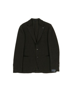 Brown Striped Wool-Blend Jacket