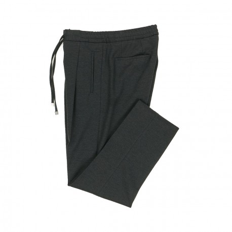 Grey Cotton and Wool Jersey Trousers