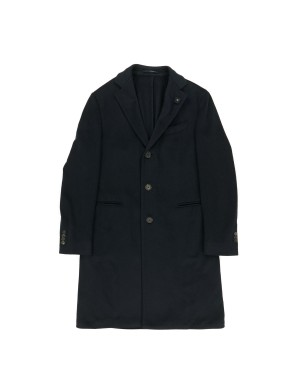 Navy Washed Cashmere Coat