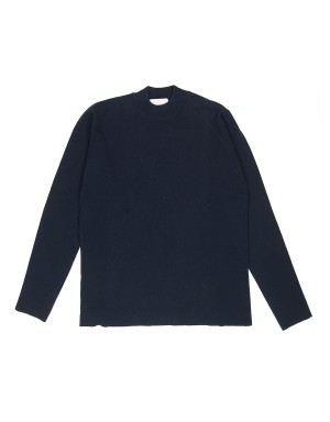 Navy Mock-neck Soft Merinos Sweater