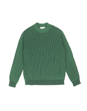 Green and Navy Mock-neck Sweater