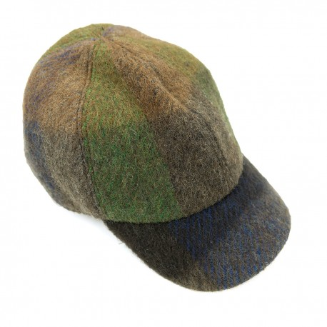 Green Brown Blue Checked Wool Cap