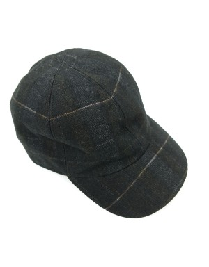Black Checked Cotton Cap