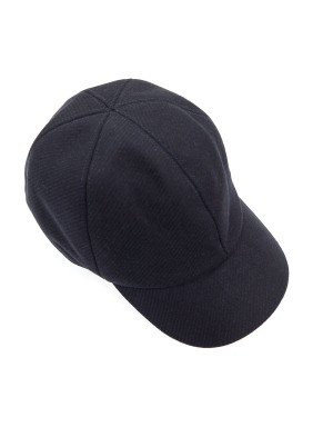 Navy Wool and Nylon-blend Twill Cap