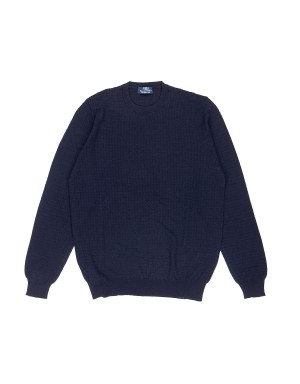 Navy Waffle effect Knit Sweater