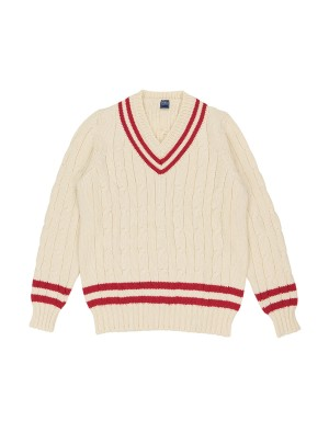 Ivory and Red Cable Knit Wool Sweater