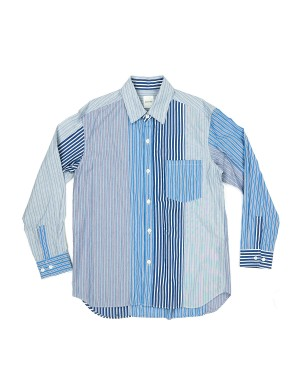 Blue Mismatched Stripes Cotton Shirt