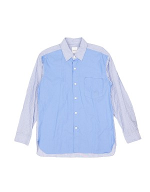 Saxe Blue and Striped Cotton Shirt