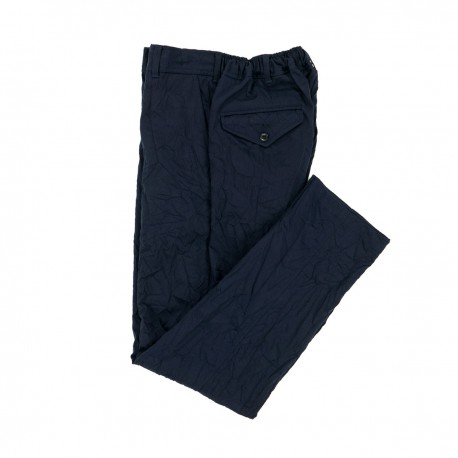 Navy Crinkle Effect Trousers