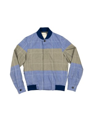Blue and Grey Striped Cotton Jacket
