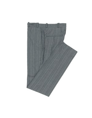Grey Striped Cotton Trousers