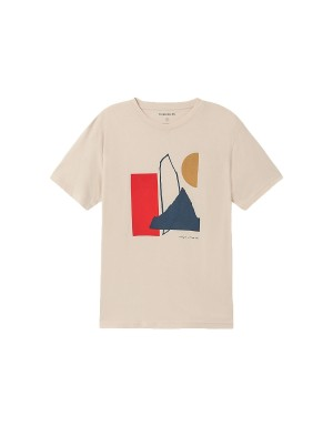 Abstract Nude Cotton T-Shirt