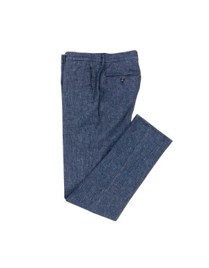 Indigo Stretch Cotton and Linen Trousers